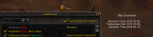wow addon Assistant Red — Rev's Rep