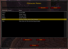 wow addon Character Notes