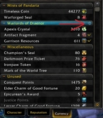 wow addon CurrencySorter