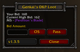 wow addon Genkai's DKP Loot System — Classic