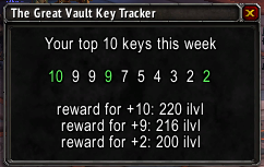 wow addon Great Vault Key Tracker