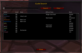 wow addon Guild Search
