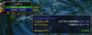 wow addon Player XP Bar