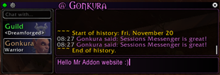 wow addon Sessions Messenger