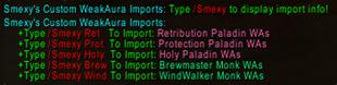 Smexy's Custom WeakAura Imports