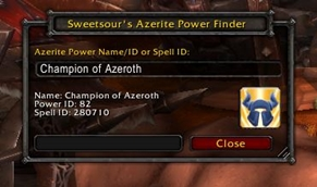 wow addon Sweetsour's Azerite Power Finder
